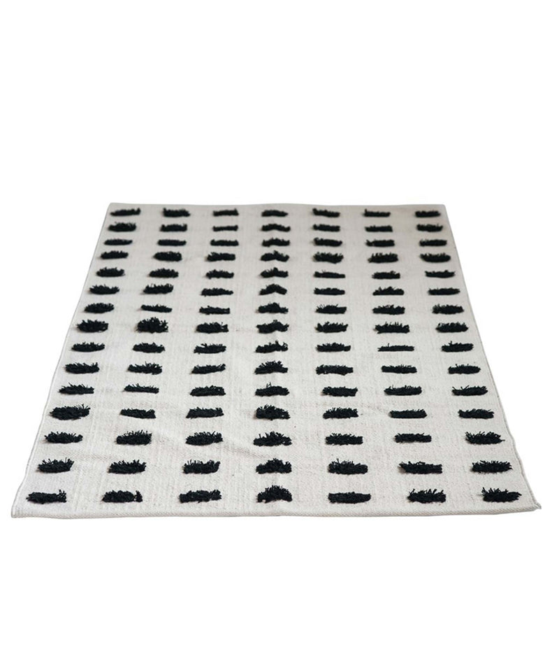 Black Dot Dhurrie Rug