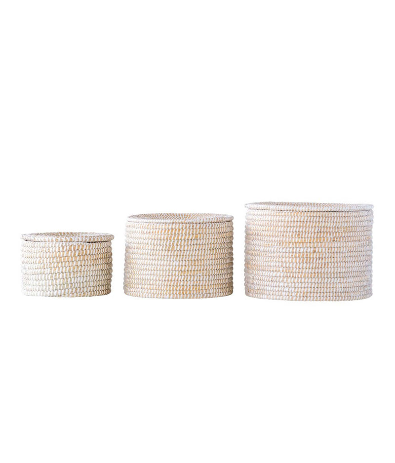 Seagrass Baskets with Lid Set of 3