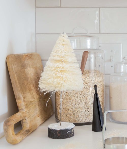 Cream Bottle Brush Tree with Wood Base