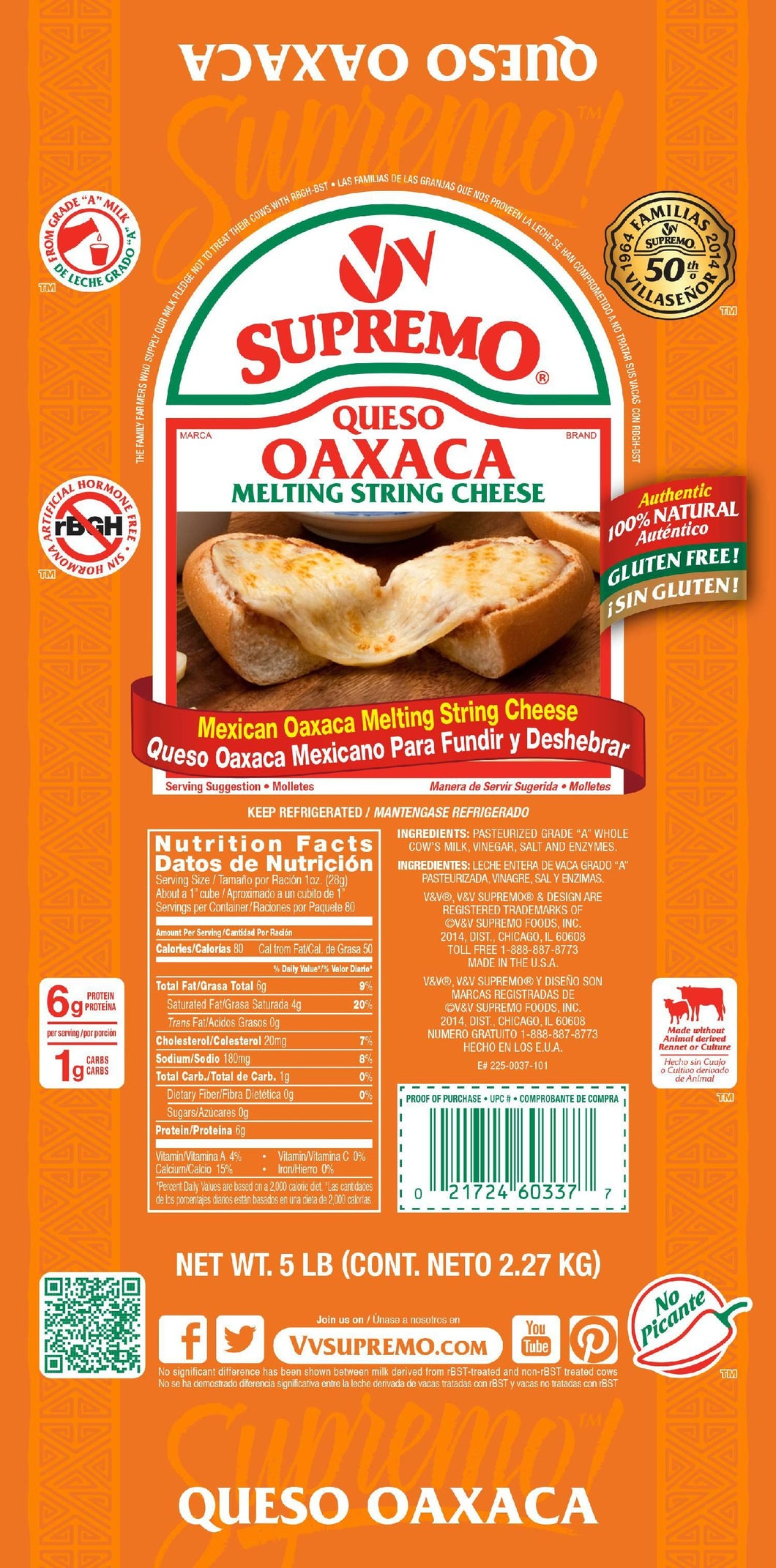 Queso Oaxca, String Loaf - 5 LB