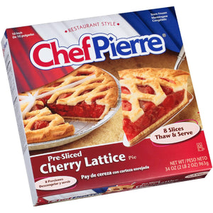 "Cherry Pie, Lattice, Sliced, 10"", Frozen - 6 Pies/34 OZ Each"