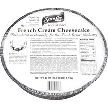 "Load image into Gallery viewer, French Cream Cheesecake, Unsliced, 10"", Frozen - 42 OZ"