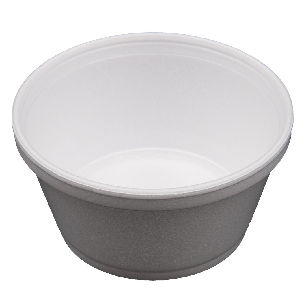 Squat Foam Containers, White, 8 OZ - 1000 EA