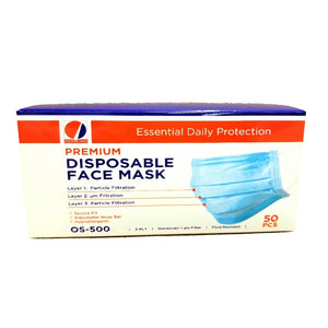 Face Masks, Non-Woven Blue 3 Ply W/ Nose Bridge & Ear Loop - 50 EA