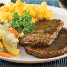 Load image into Gallery viewer, Salisbury Steak Patty In Gravy Tray, Cooked-Frozen - 69 OZ