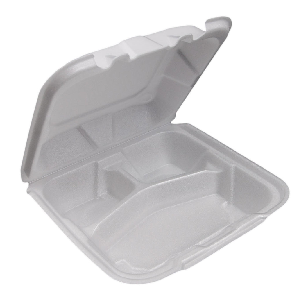 Foam Containers, White, 8X8.5, 3 Compartment - 150 EA