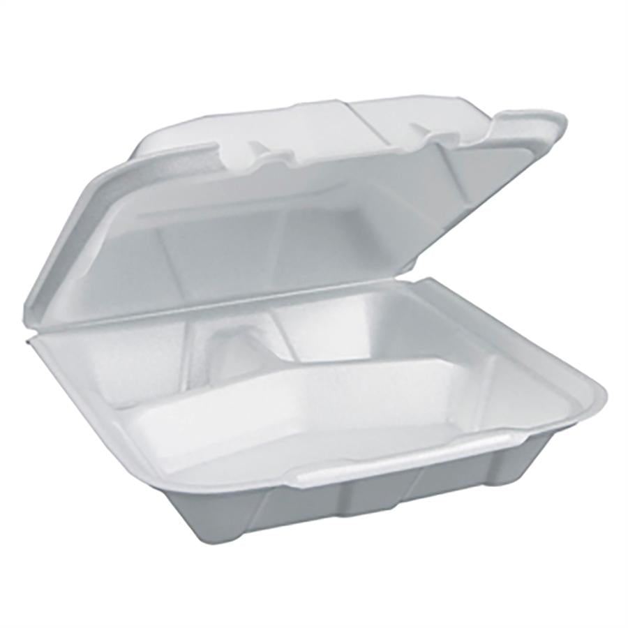 Foam Containers, White, 9X9, 3 Compartment - 150 EA