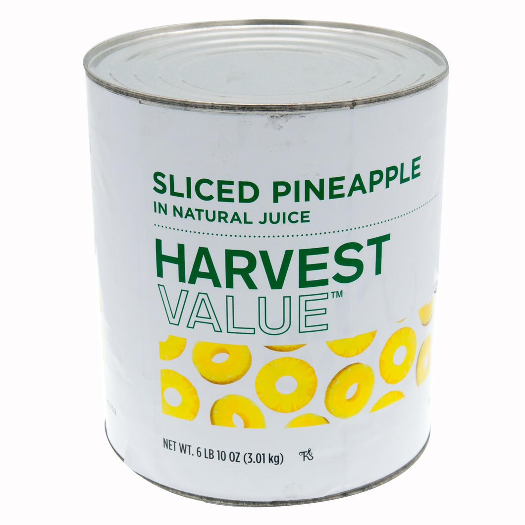 Pineapple Slices, In Juice, 50-70 Count- #10 Can