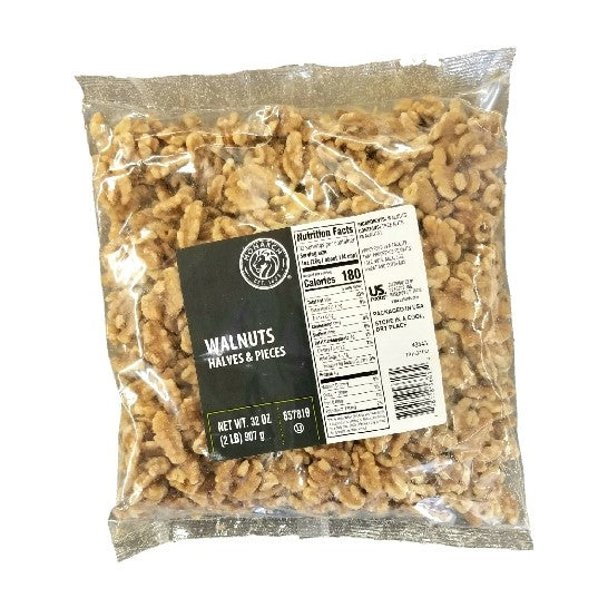 Walnut, Halves & Pieces, Unsalted & Shell Off, Bag - 2 LB