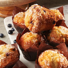 Load image into Gallery viewer, Blueberry Buttermilk Muffins, Tray Pack, Frozen - 12 Muffins/4 OZ Each