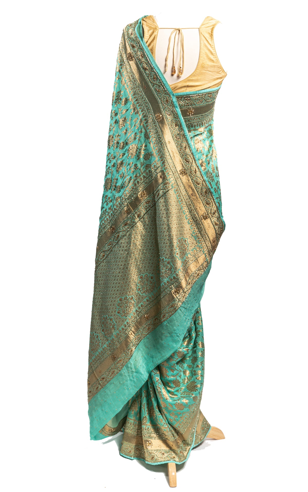 Green Banarsi Georgette Stone Saree