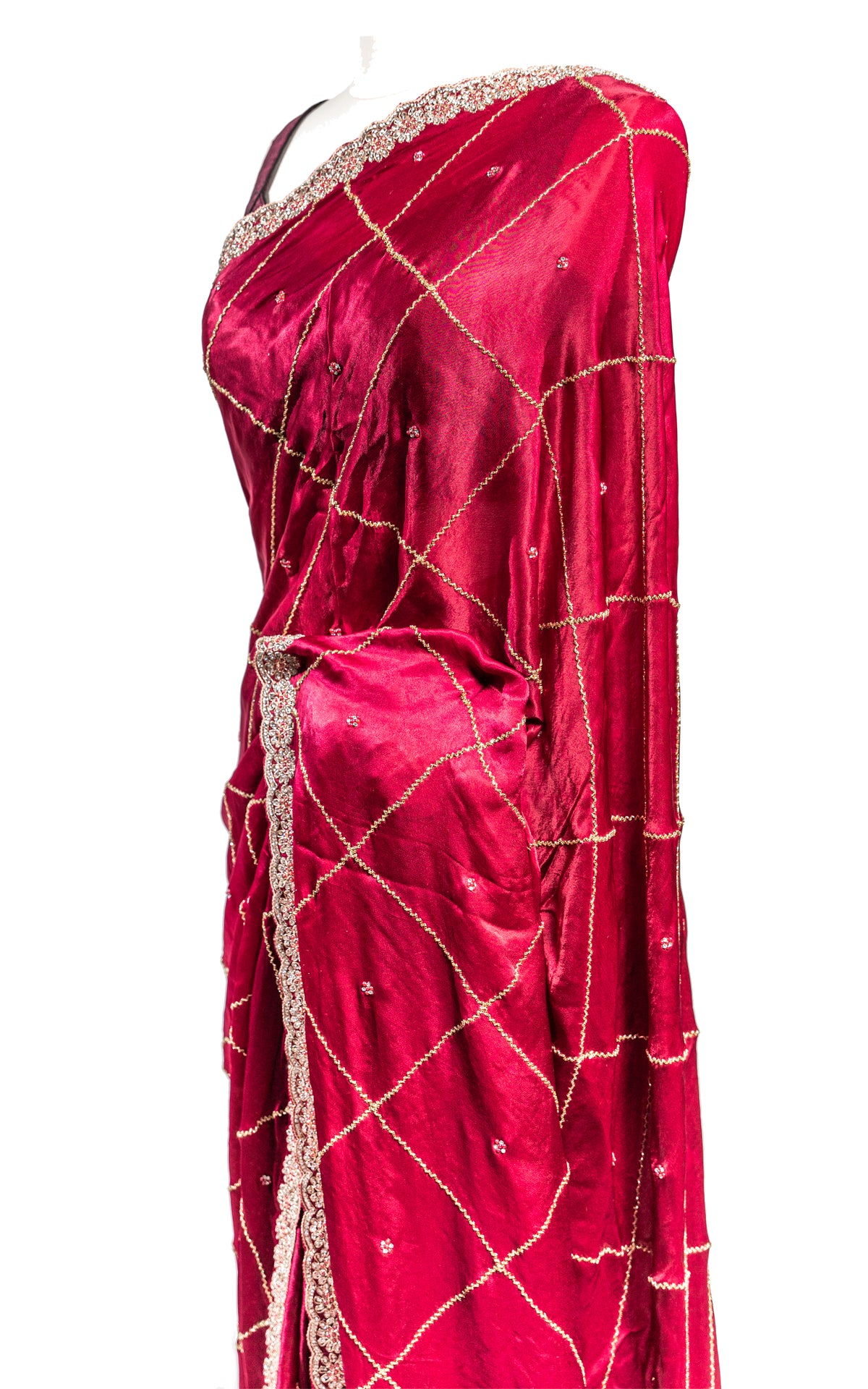 Wine Satin Diamond Stone Saree