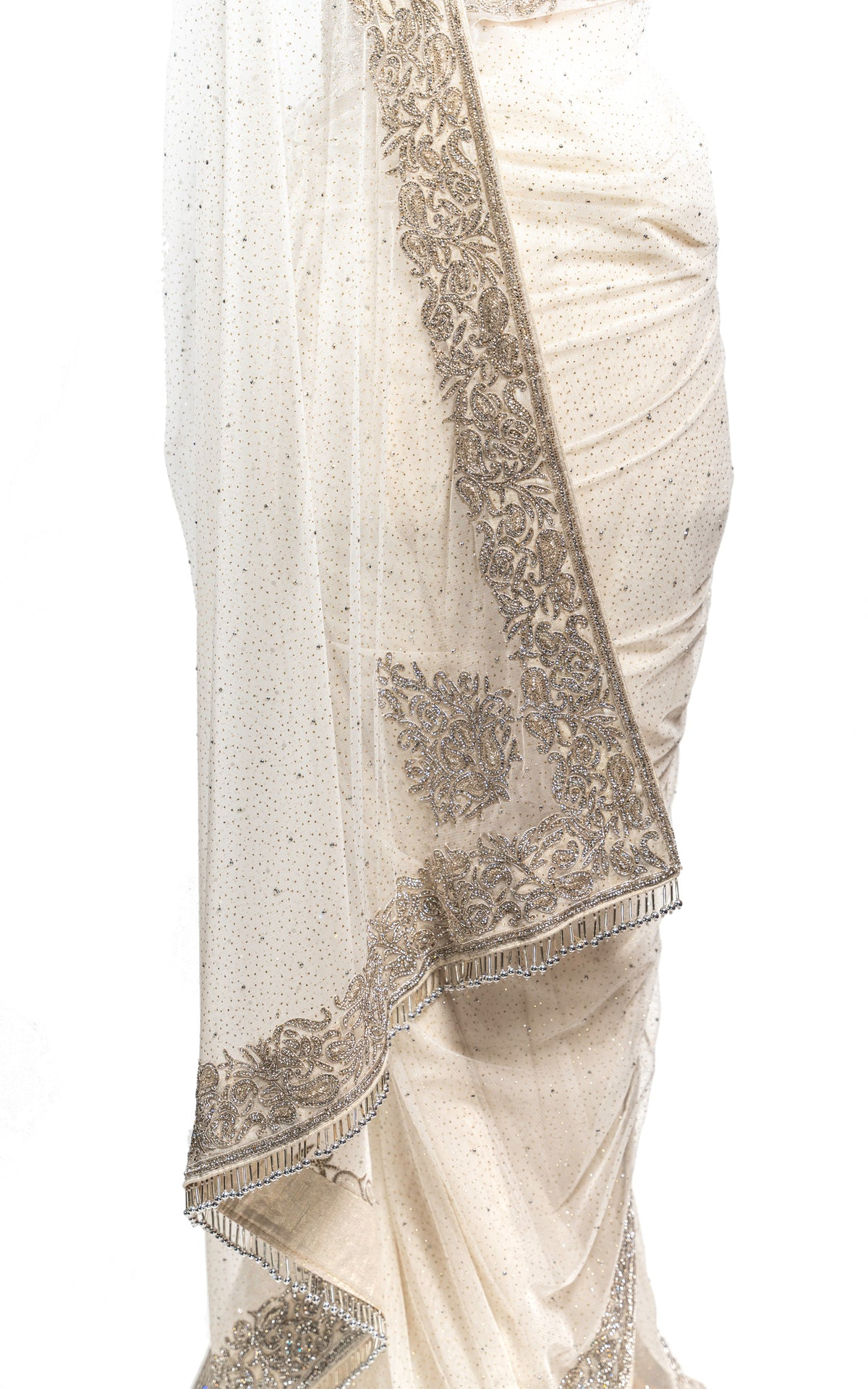 White Shimmer Stone Border Saree