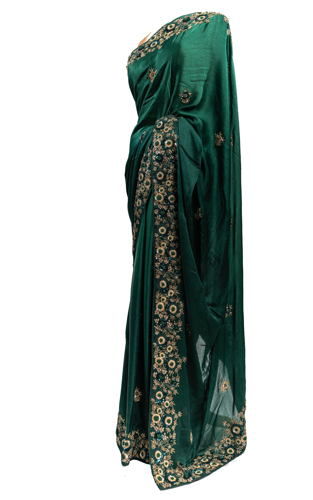 Emerald Green Multi-Embroidery Saree