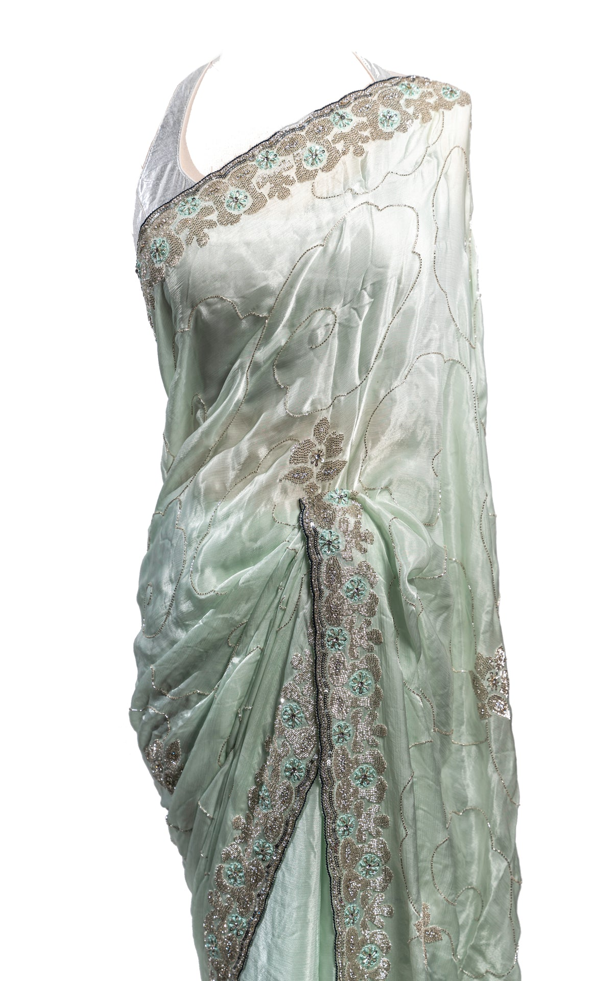 Grey Green Satin Stone Saree