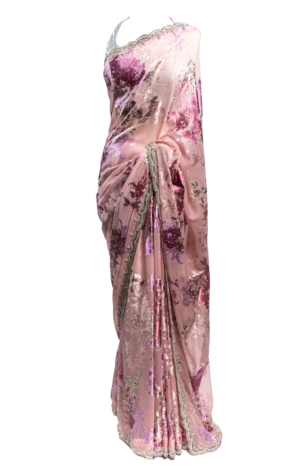 Floral Pink Satin Pearl and Cut Dana Saree