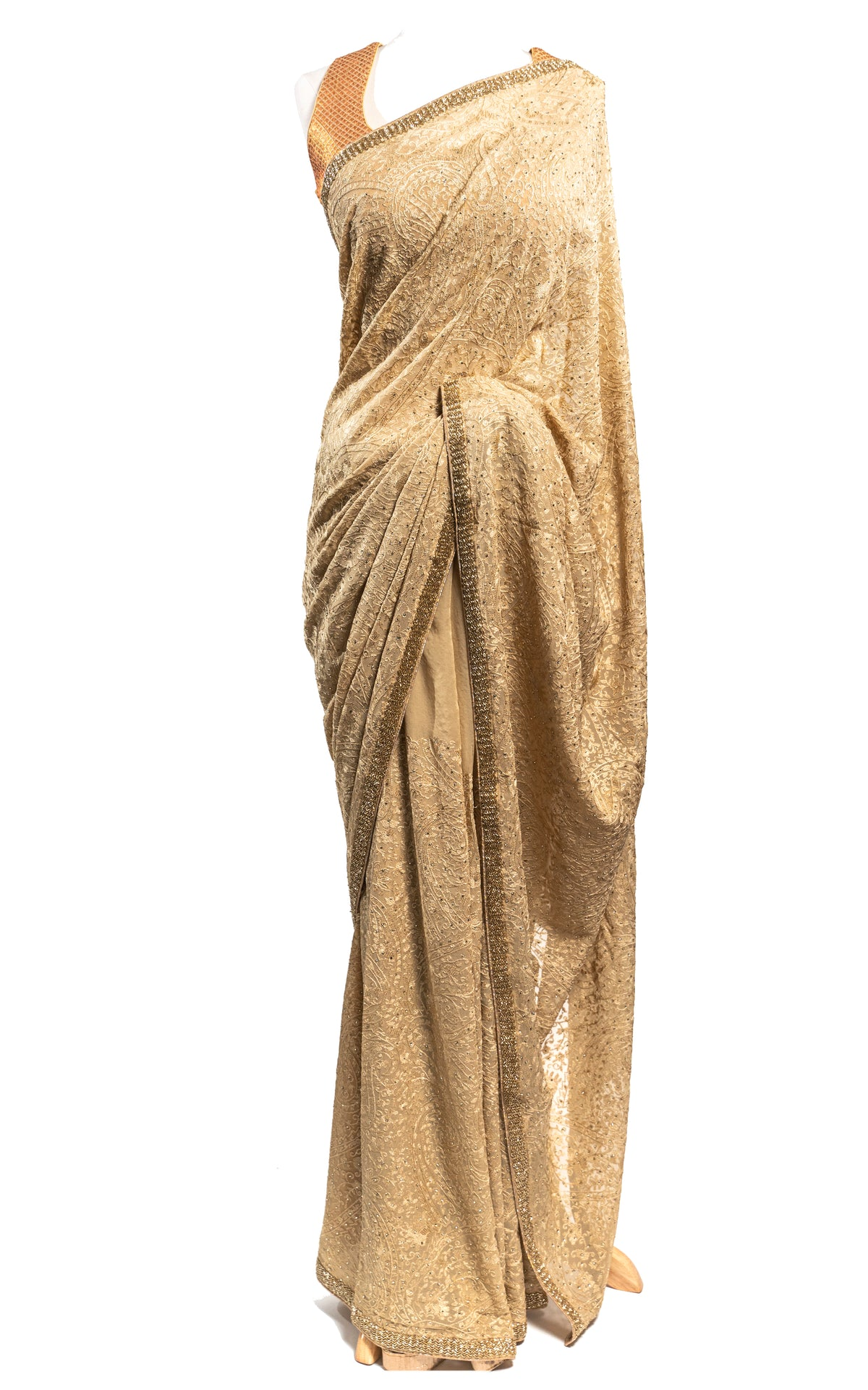 Gold Lucknowi Thread Embroidery Saree