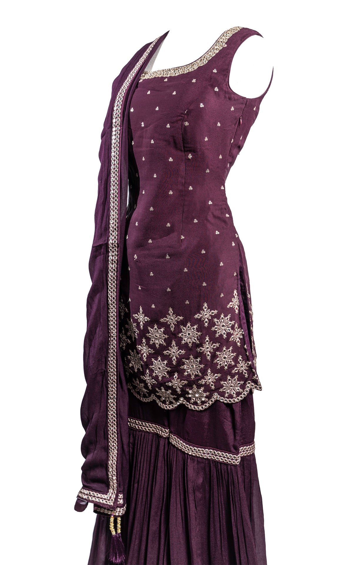 Deep Purple Mirror Scalloped Gharara