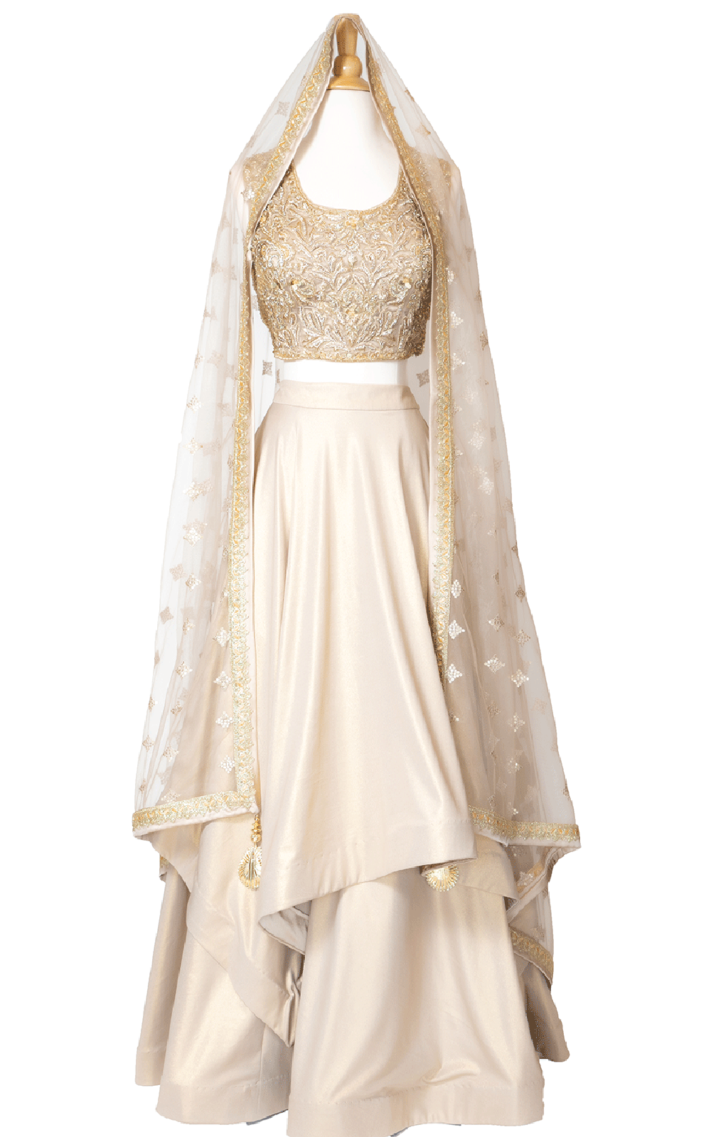 Gold Shimmer Georgette Layered Lehenga