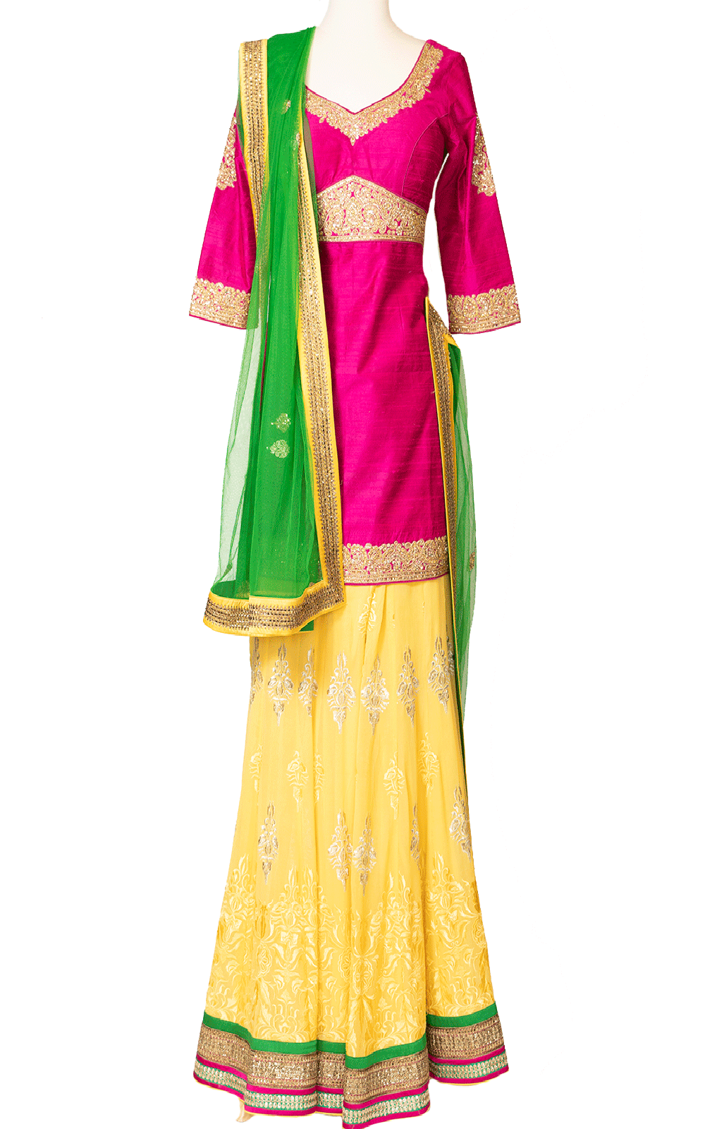 Pink and Yellow Sharara with Green Dupatta