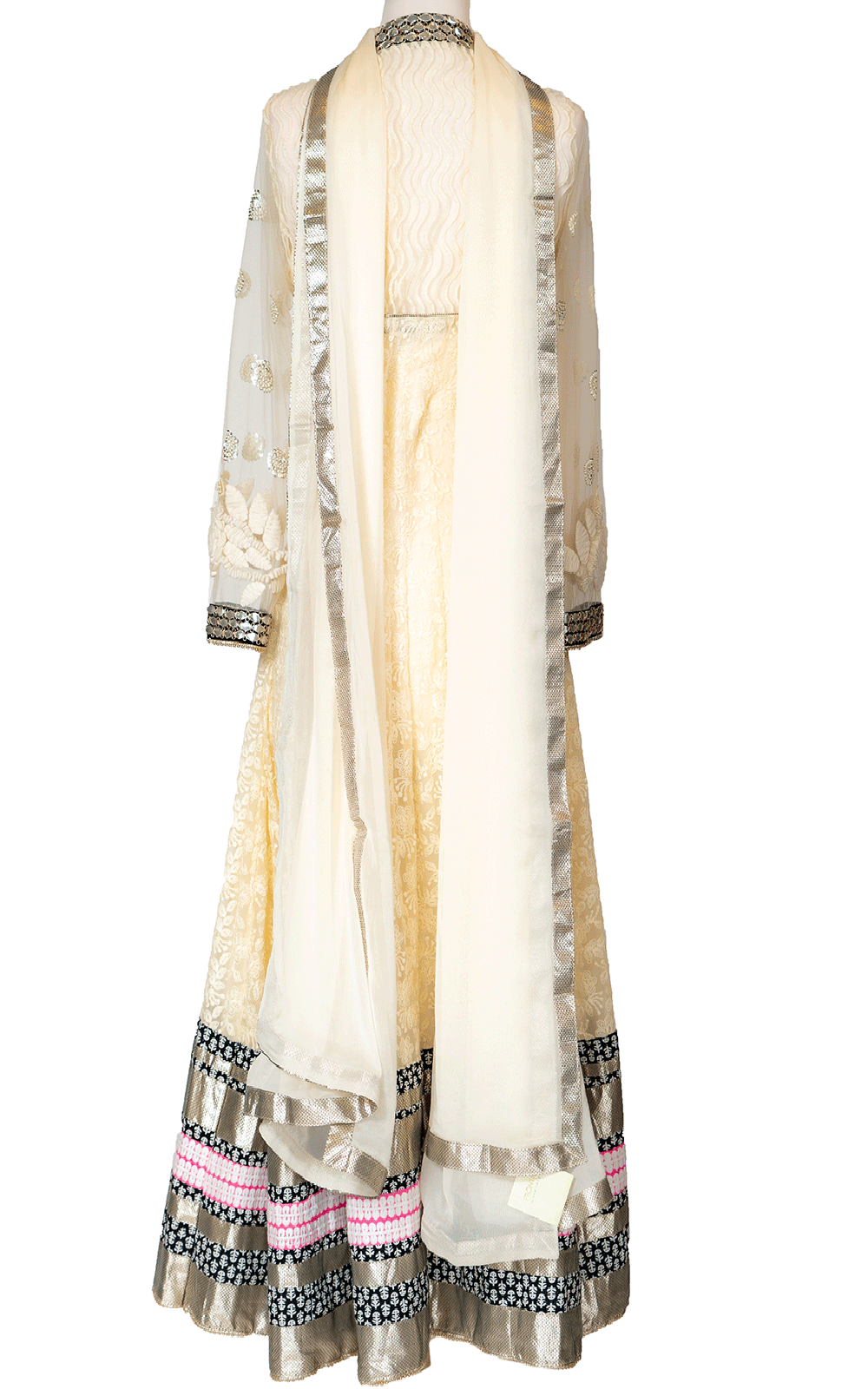 Off White Thread Anarkali with Black Border
