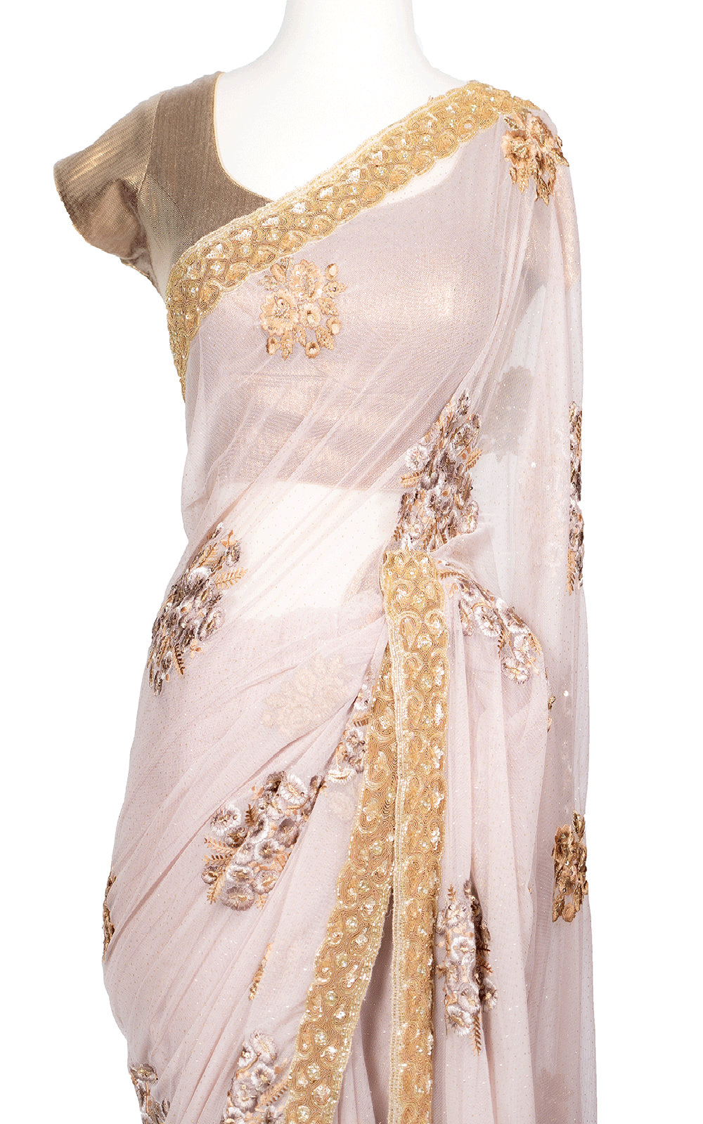 Baby Pink Tonal and Gold Thread Saree