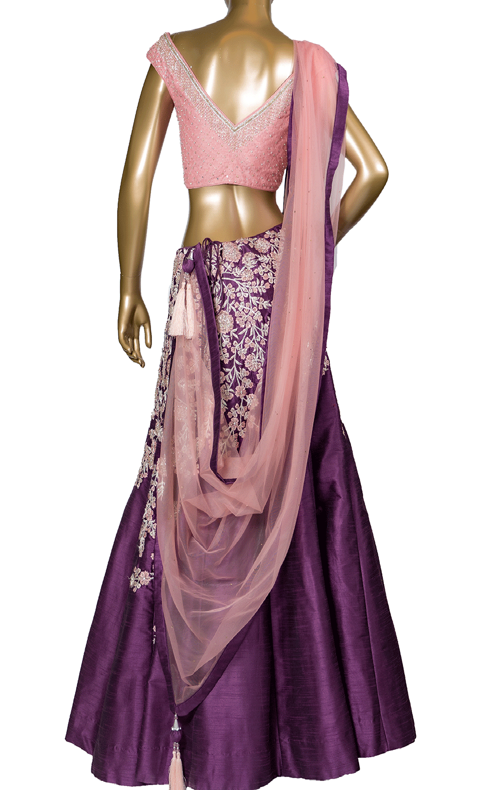 Purple Pink Stone Thread Lehenga