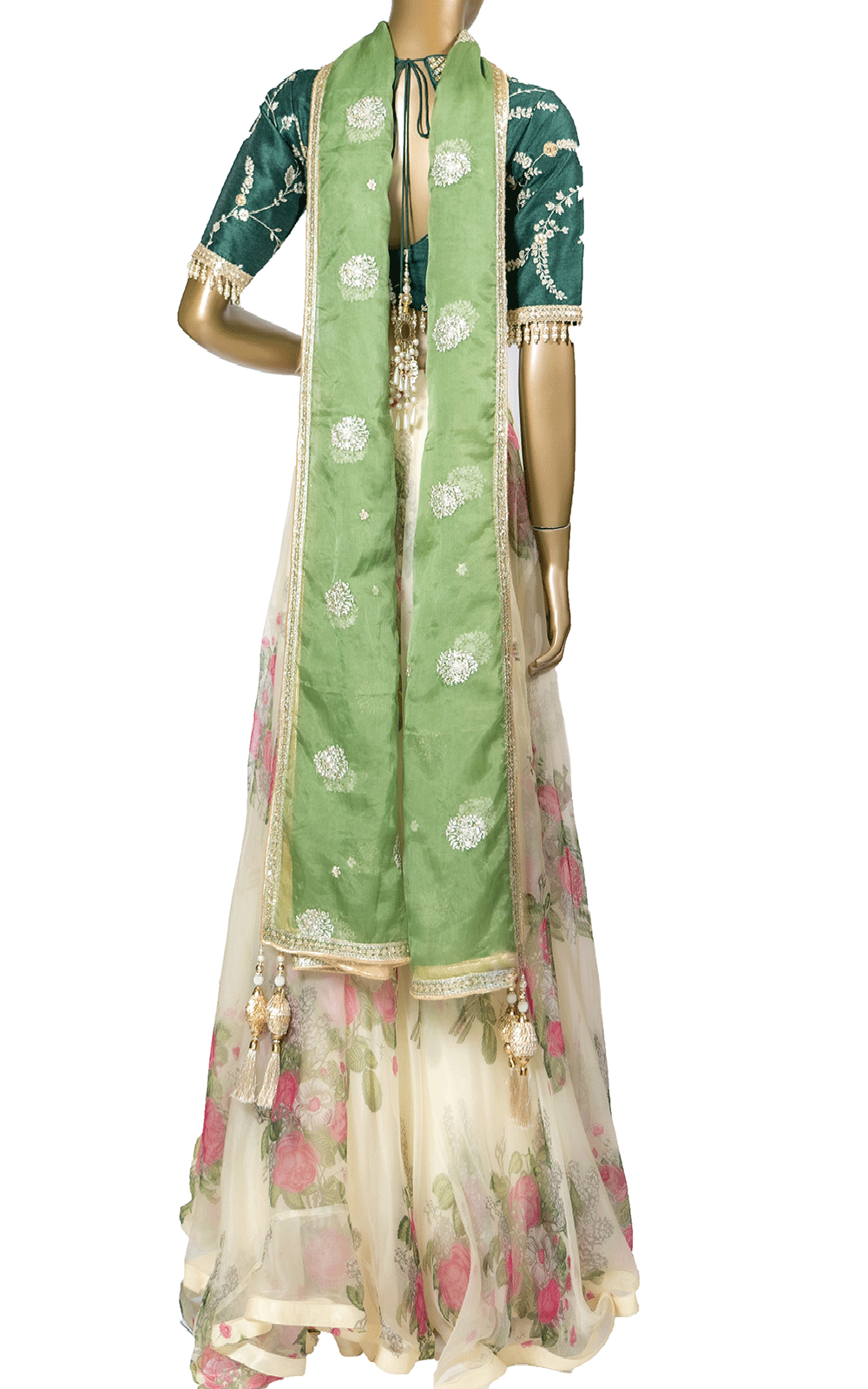 Green and Off White Floral Organza Lehenga