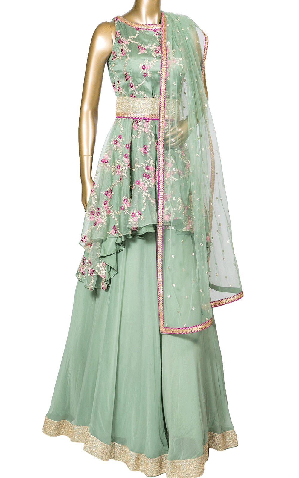 Sage Green Organza Floral Lehenga with High Low Top