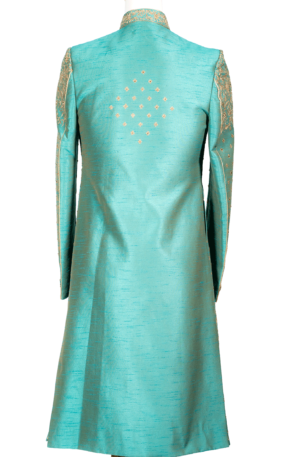 Aqua Blue Raw Silk Sherwani