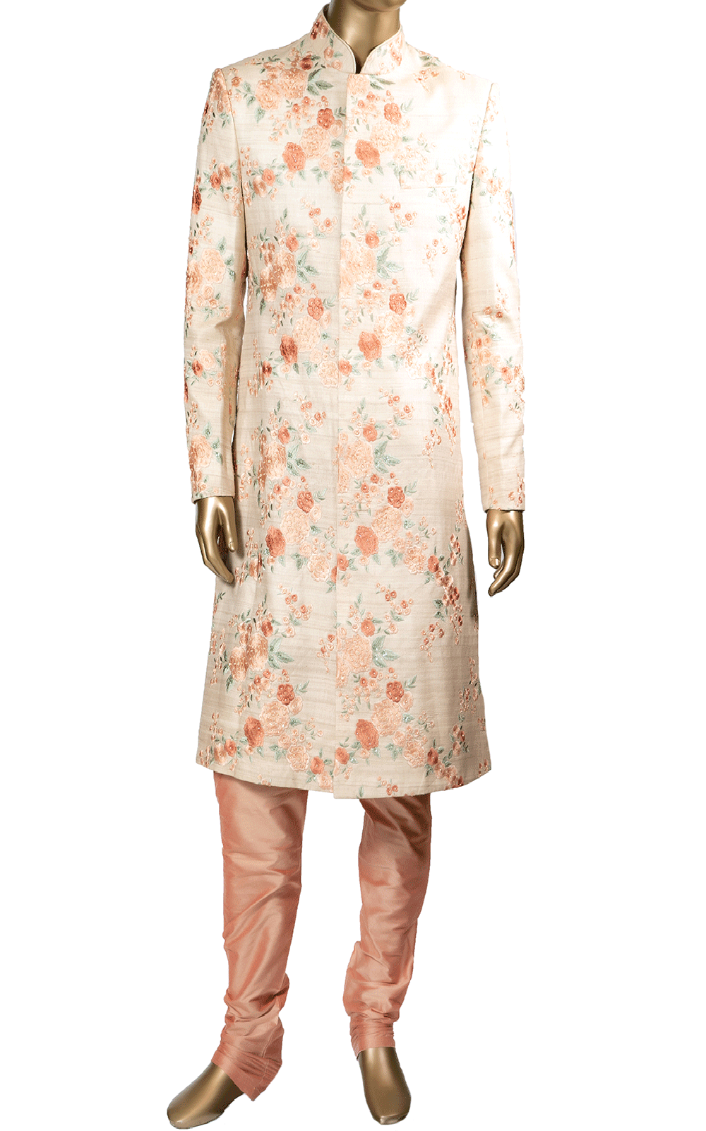 Off White Sherwani with Peach Floral Threadwork