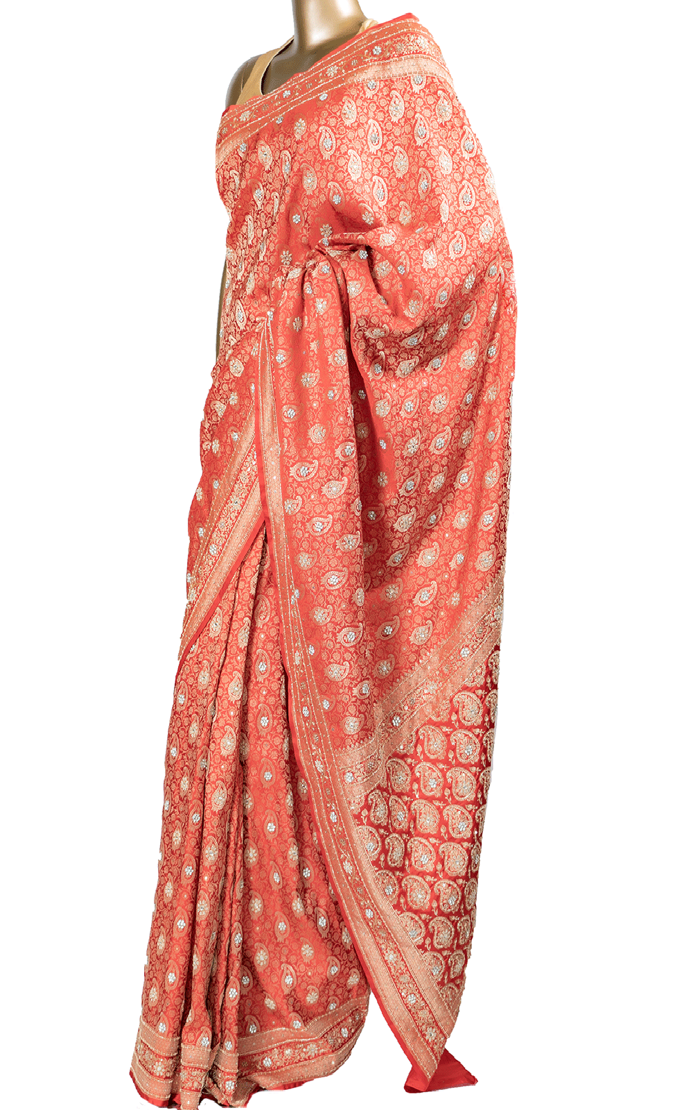 Red Banarsi Silk Saree with Stone Embroidery