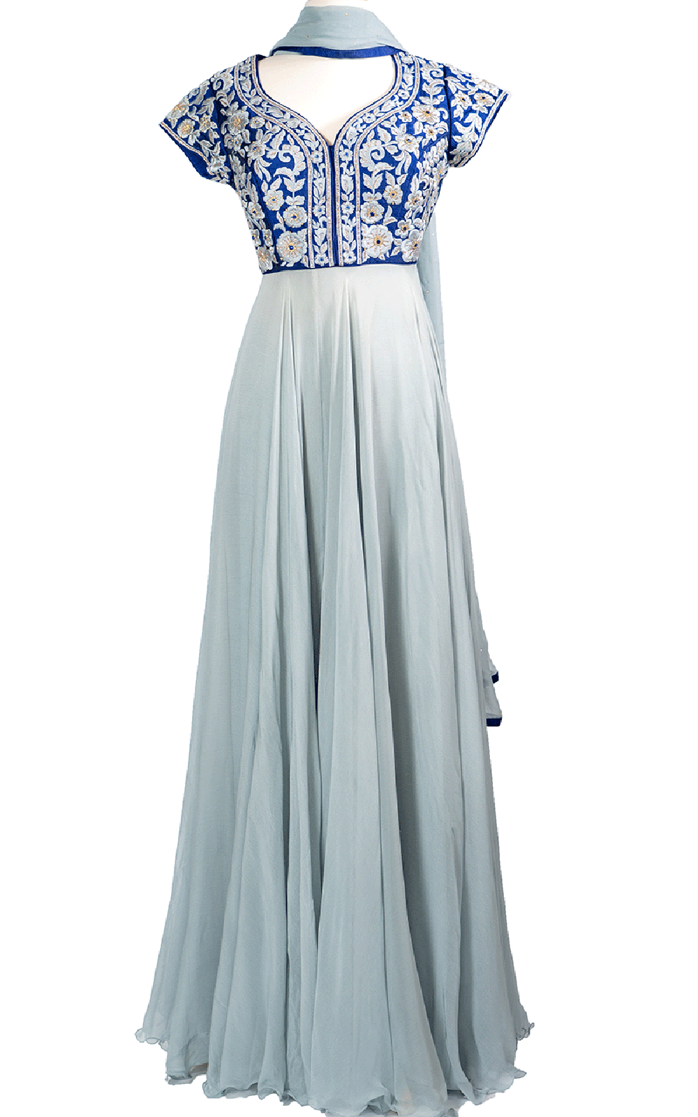 Blue Top Anarkali with Grey Floral Threadwork