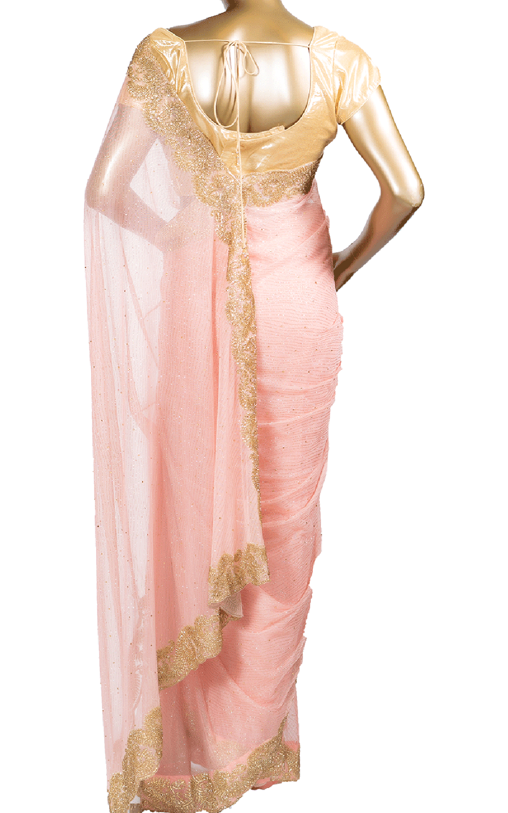 Baby Pink Saree with Gold Stone Border