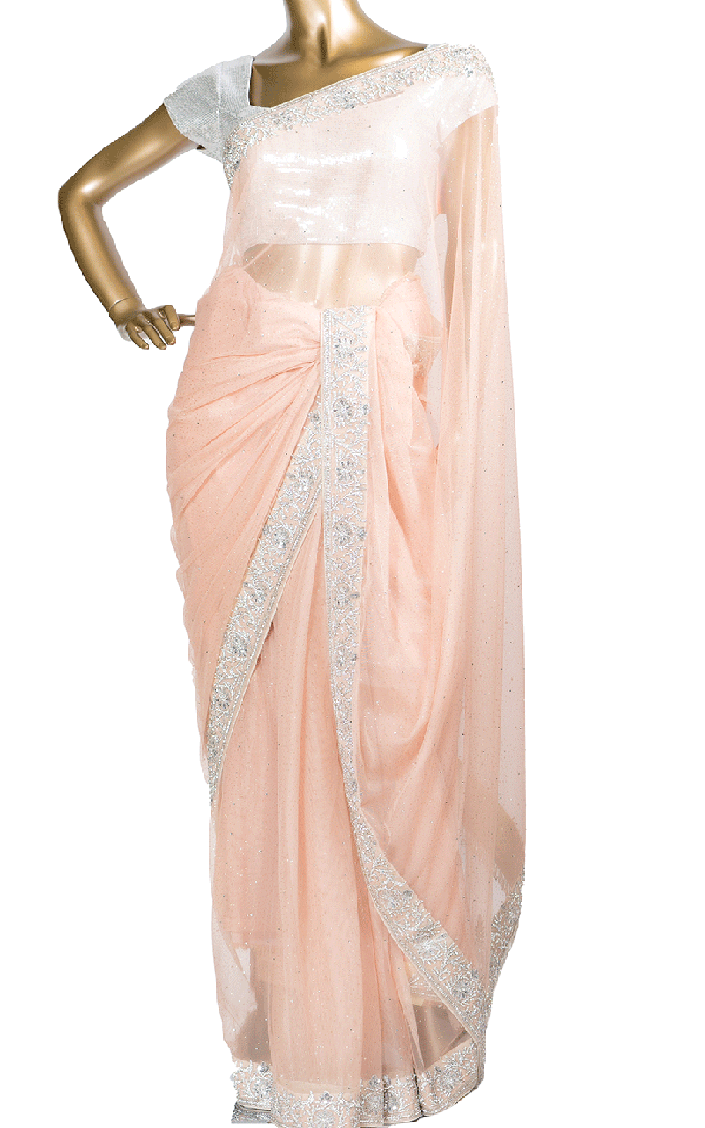 Baby Pink Shimmer Net Stone Saree