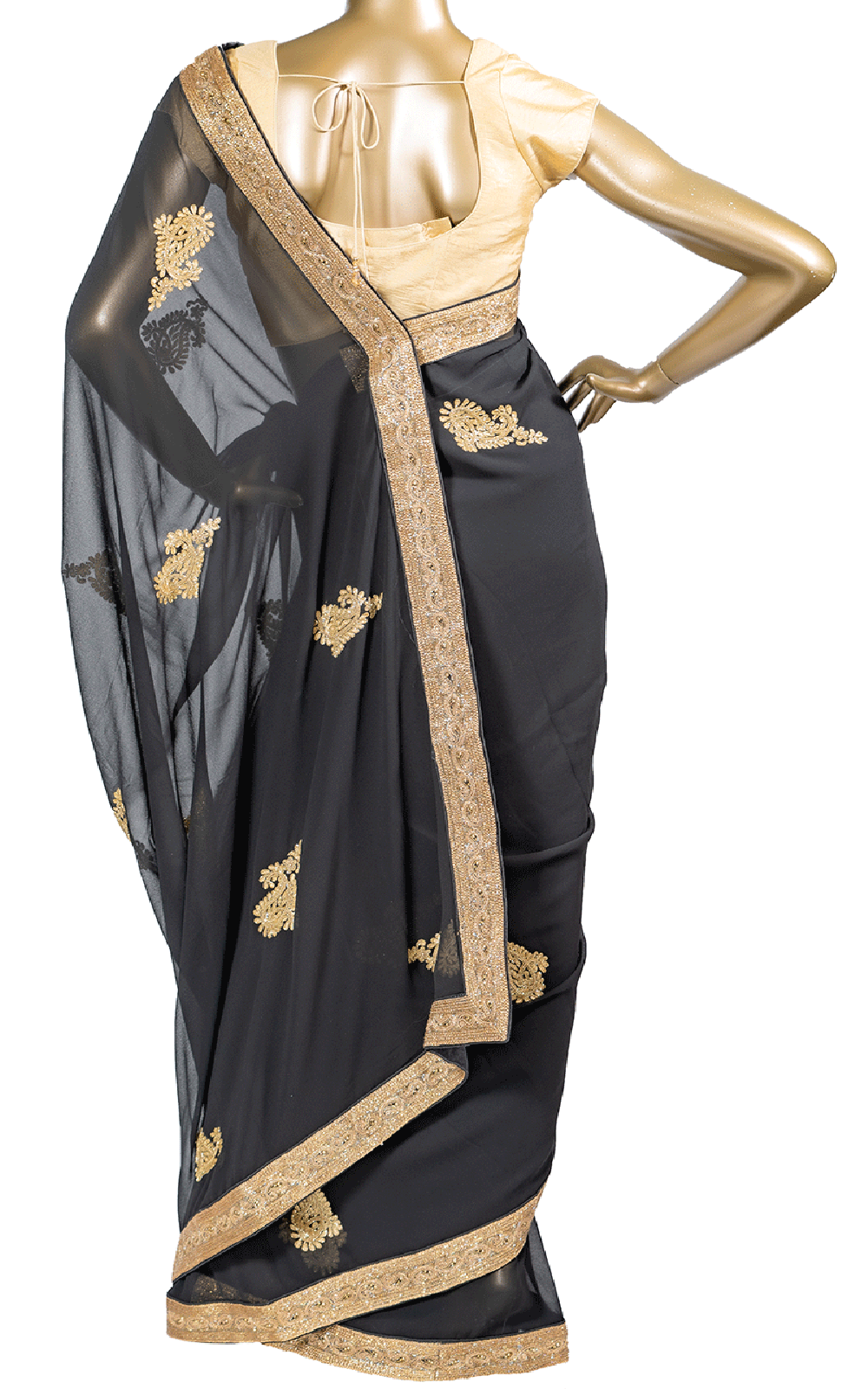 Black Saree with Gold Cut Dana Embroidery