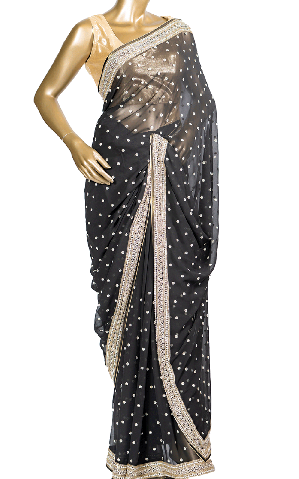 Black Saree with Pearl and Cut Dana Embroidery