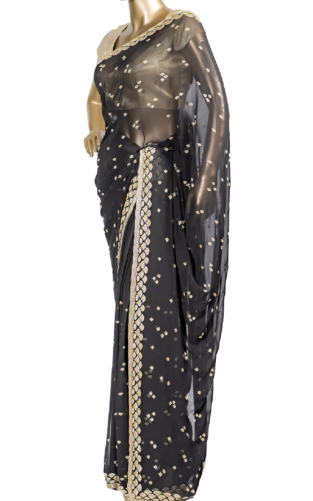 Black Saree with Pearl and Stone Embroidery