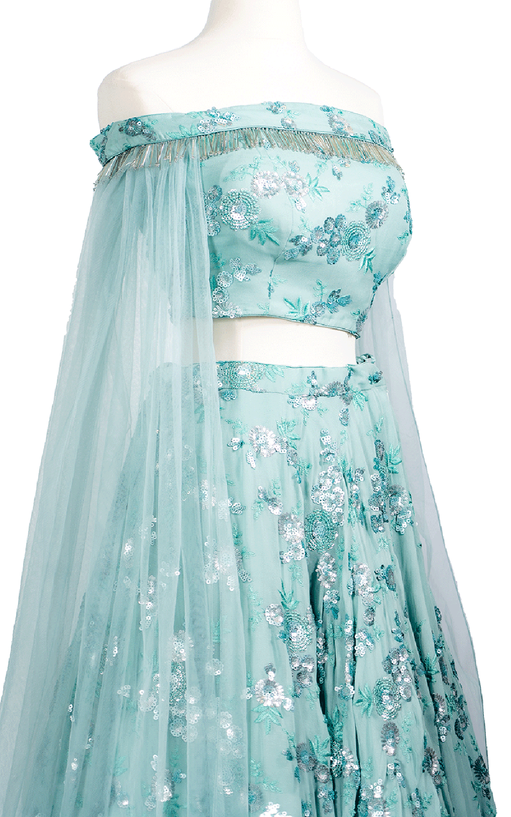Turquiose Off-the-Shoulder Sequins Lehenga