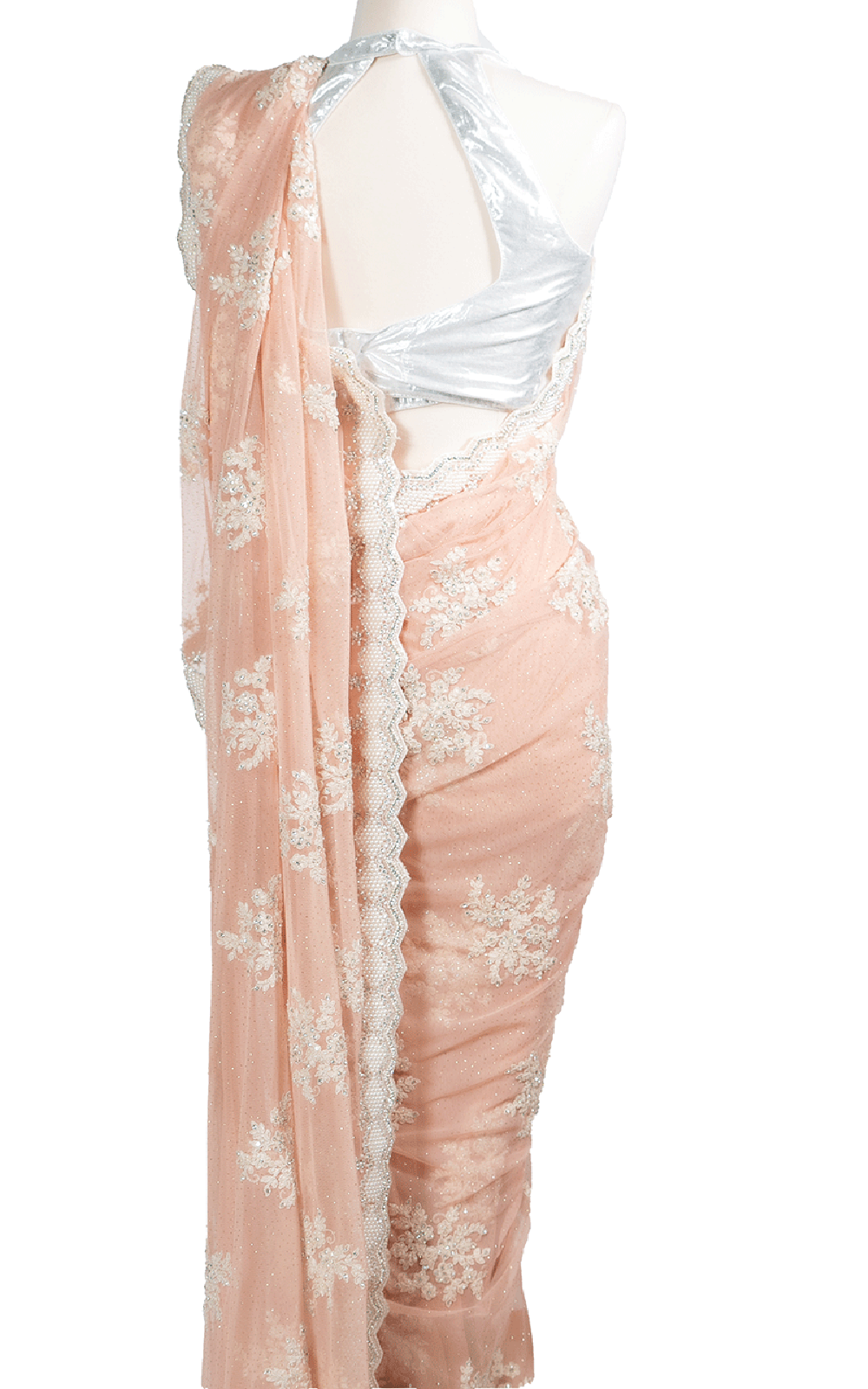 Peach Pearl and Stone Embroidery Saree