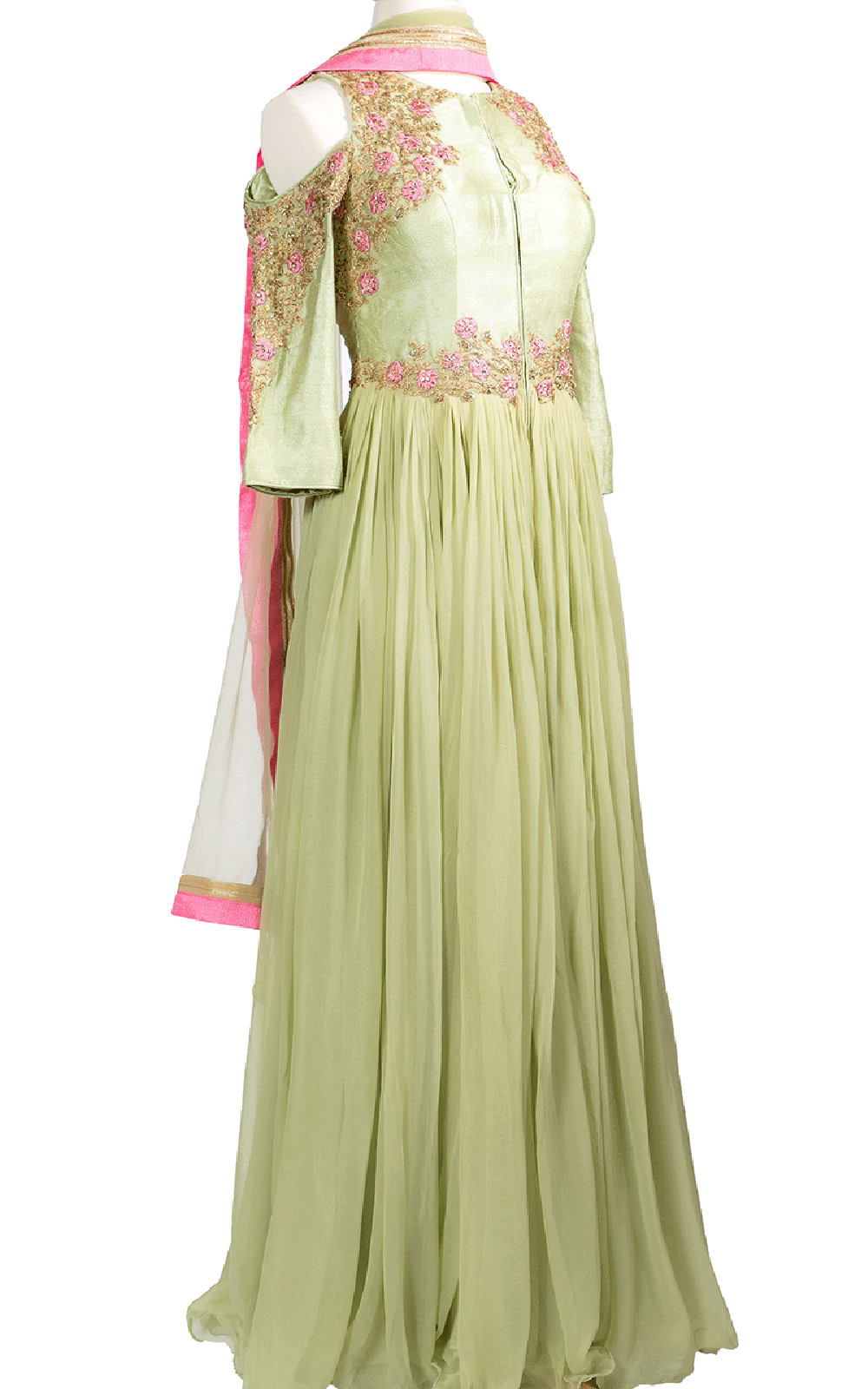 Lime Green Off-the-Shoulder Pink Floral Anarkali