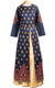 Blue and Gold Paisley Floral Thread Lehenga