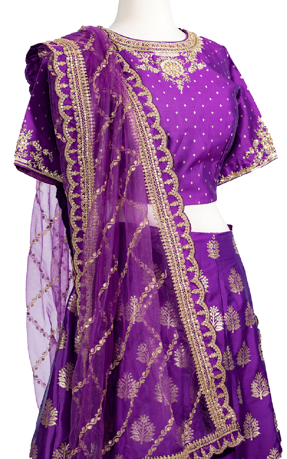 Purple Brocade Lehenga with Striped Dupatta