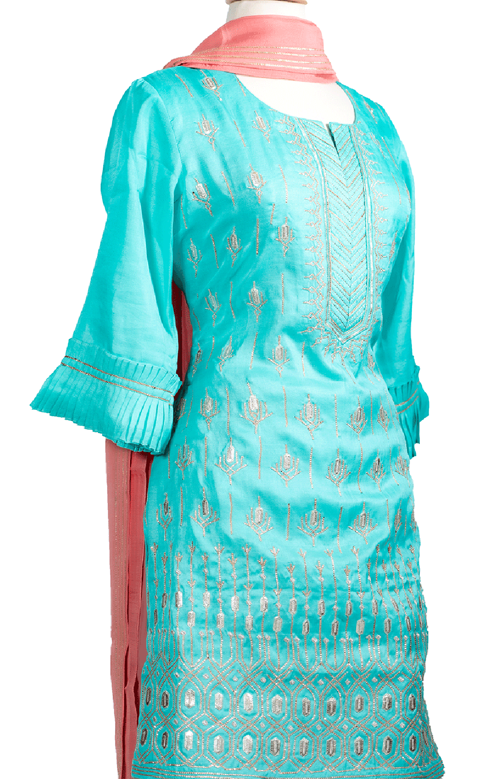 Turquoise Plazzo with Ruffled Sleeves