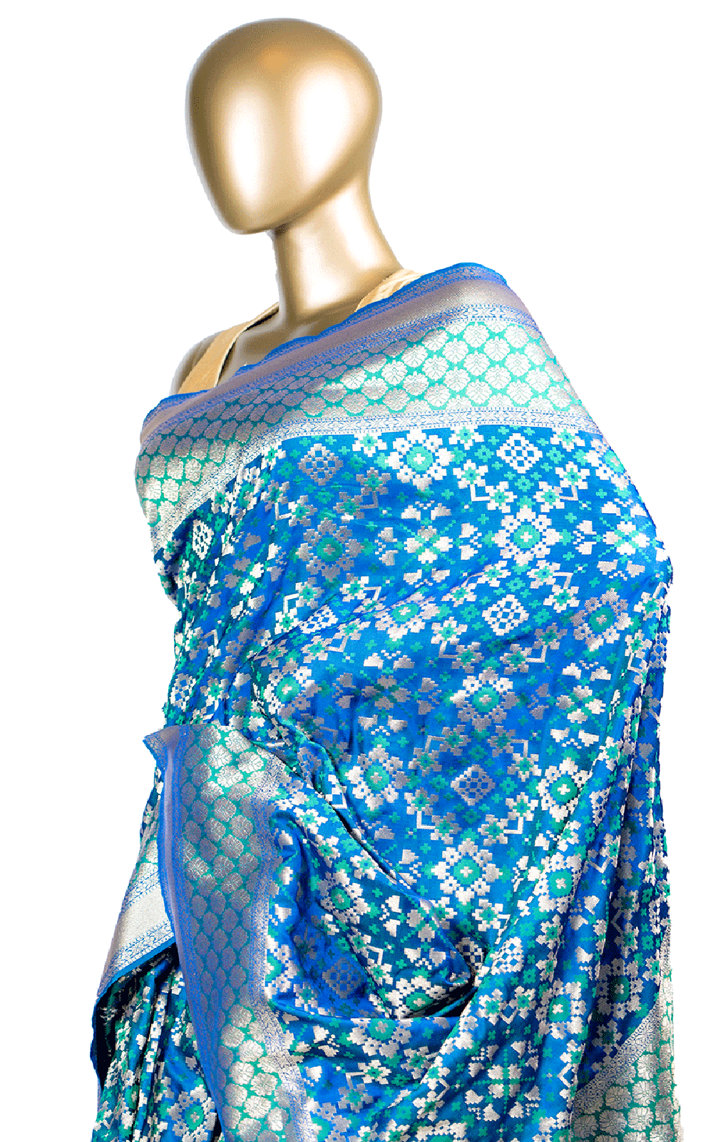 Blue Green Pixel Silk Saree with Banarsi Border