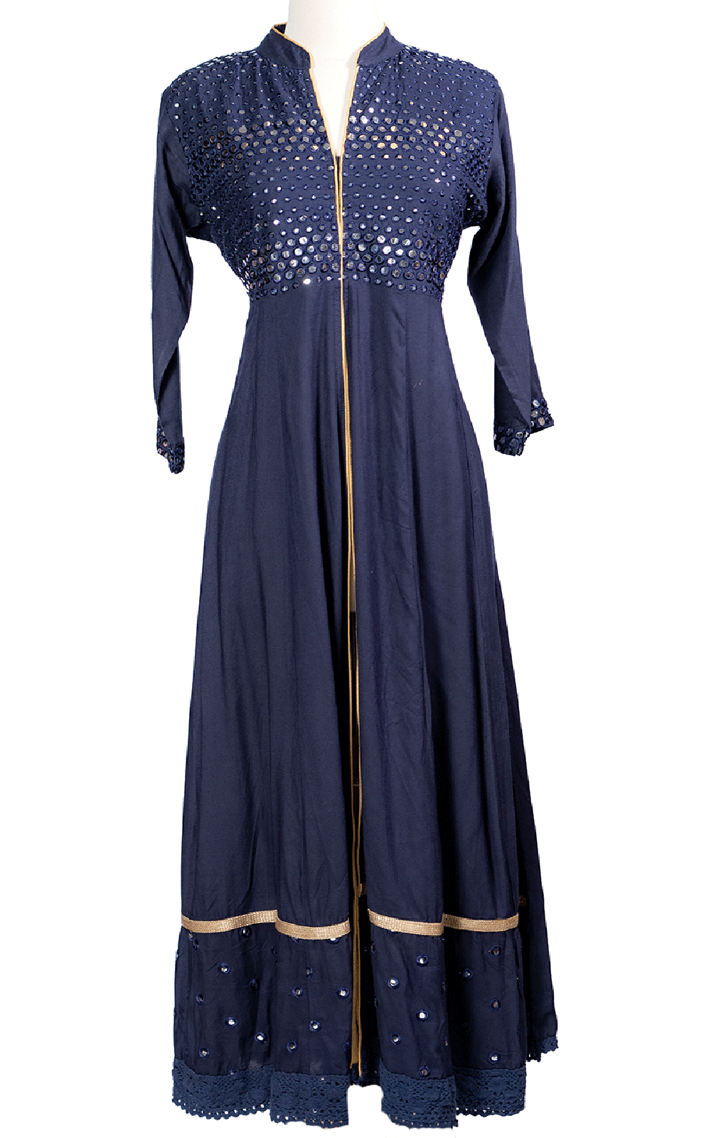 Navy Blue Front Slit Mirror Kurti