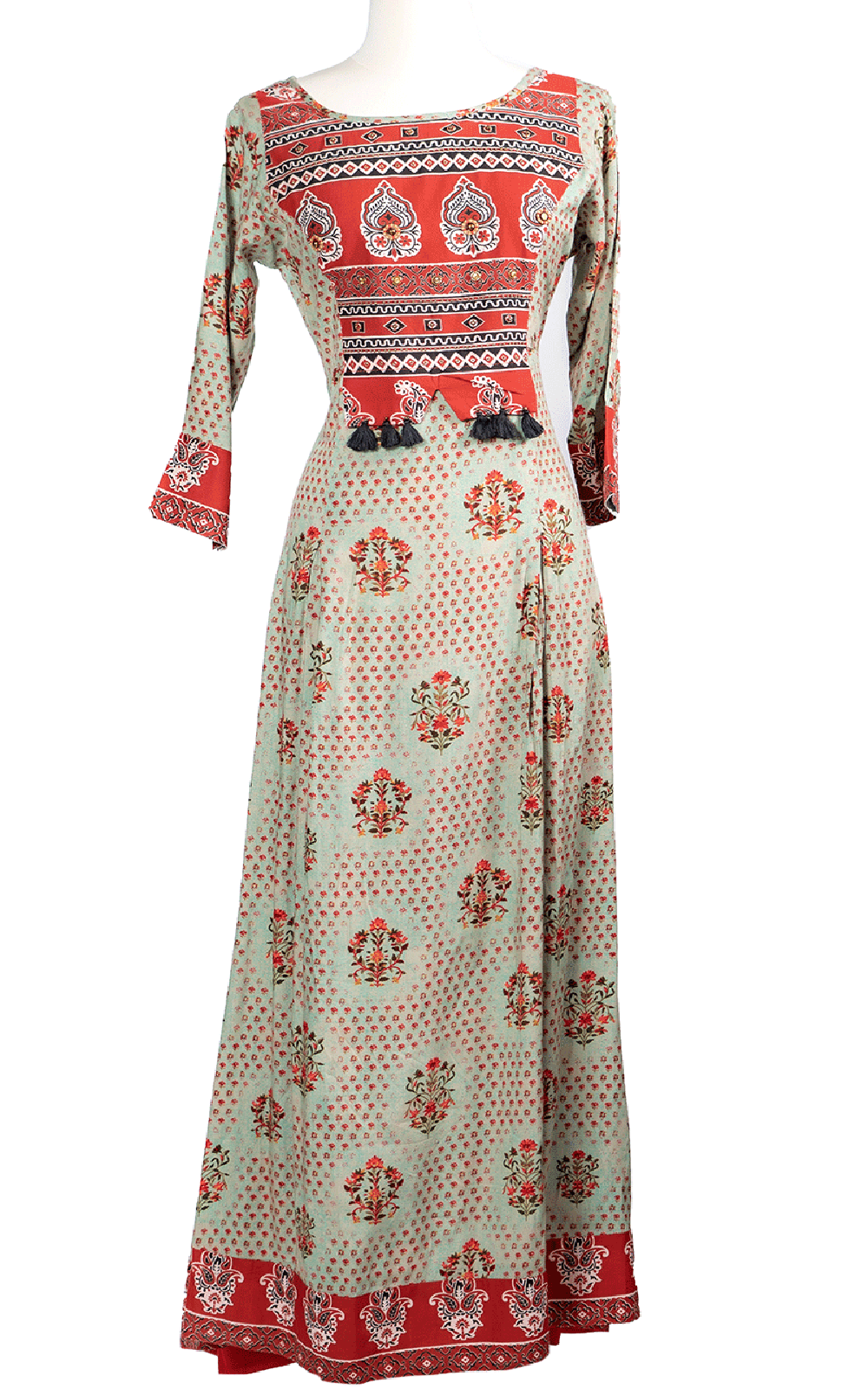Red Patch Tassel Printed Kurti
