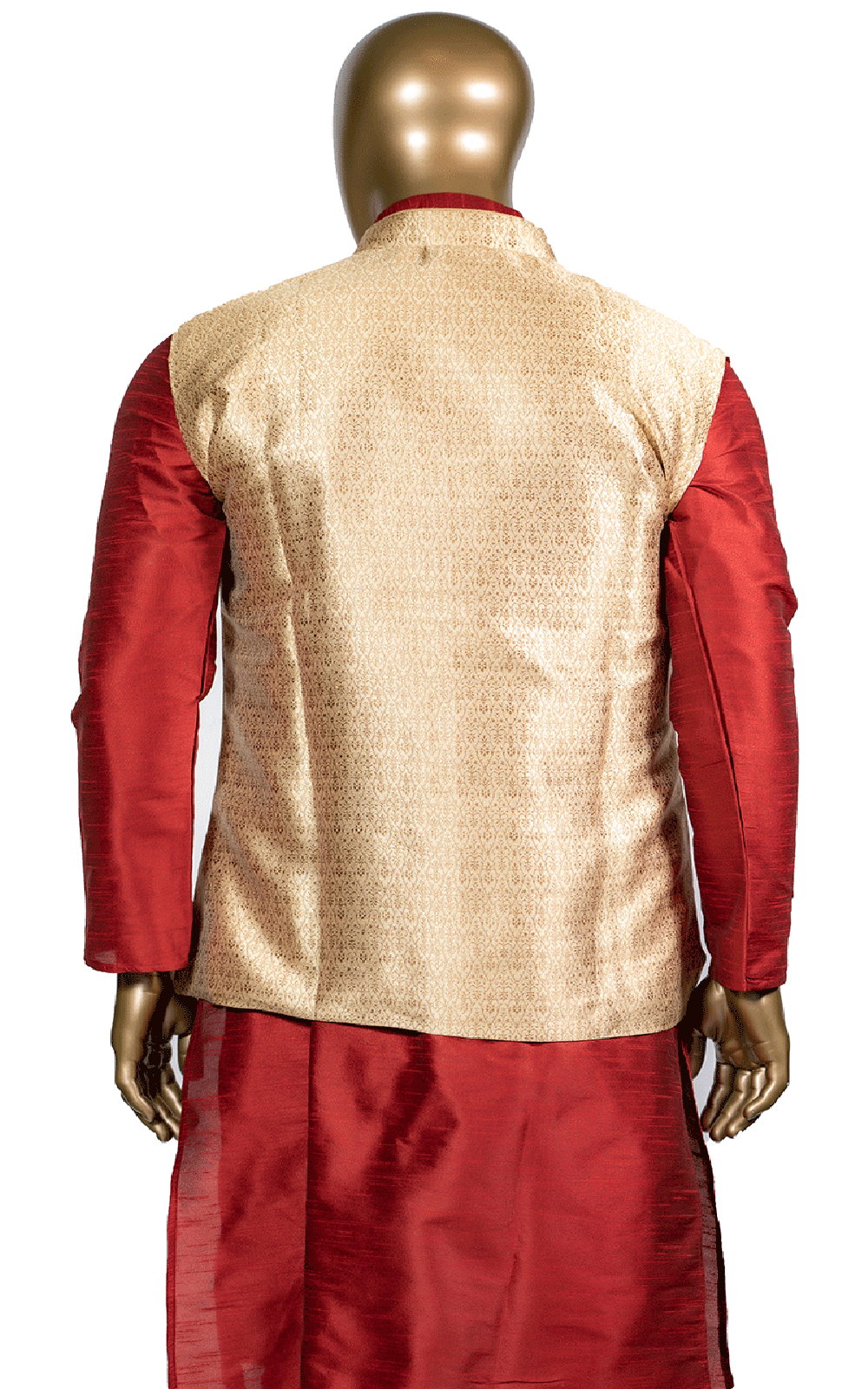 Red Kurta Pajama with Gold Brocade Vest