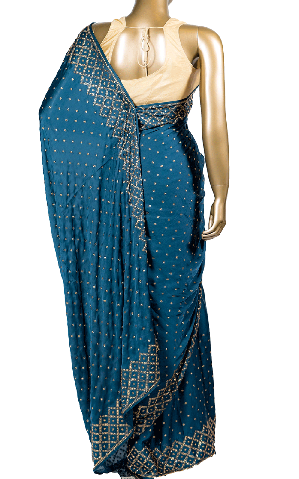 Petrol Blue Checker Stone Saree