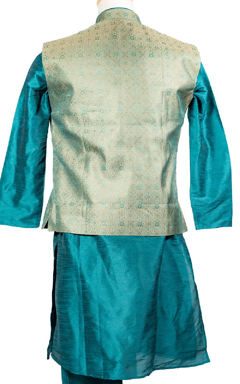 Blue Kurta Pajama with Green Brocade Vest